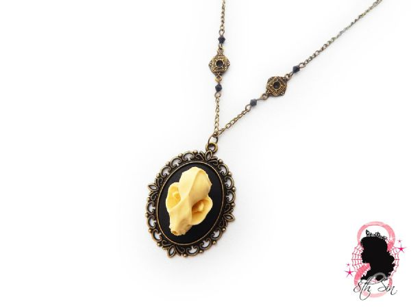 "2"" Antique Bronze Bat Skull Cameo Necklace"
